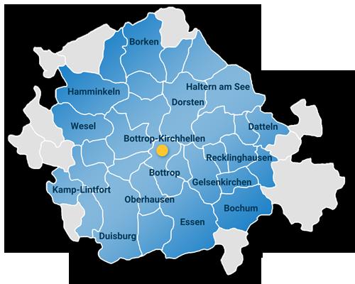 SIEBE Gebäudereinigung OHG Dachreinigung Einzugsgebiet Karte mit Ruhrgebiet