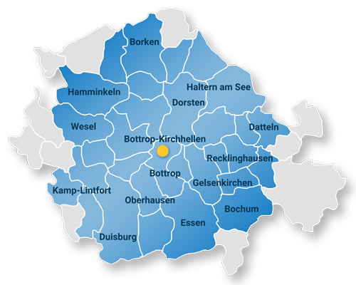 SIEBE Gebäudereinigung OHG Einzugsgebiet Karte mit Borken