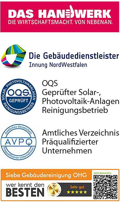 Glas- und Rahmenreinigung Zertifikate Mitgliedschaften SIEBE Gebäudereinigung OHG